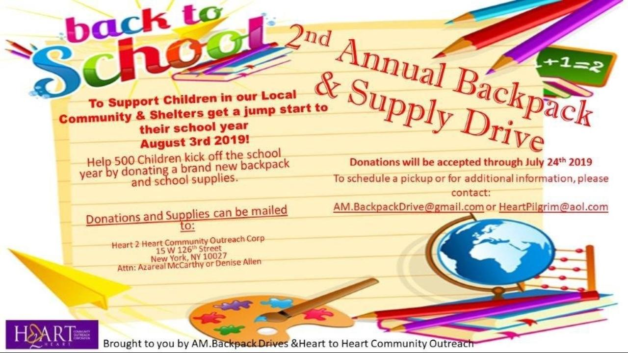 Azareal & Heart to Heart Annual Backpack Drive