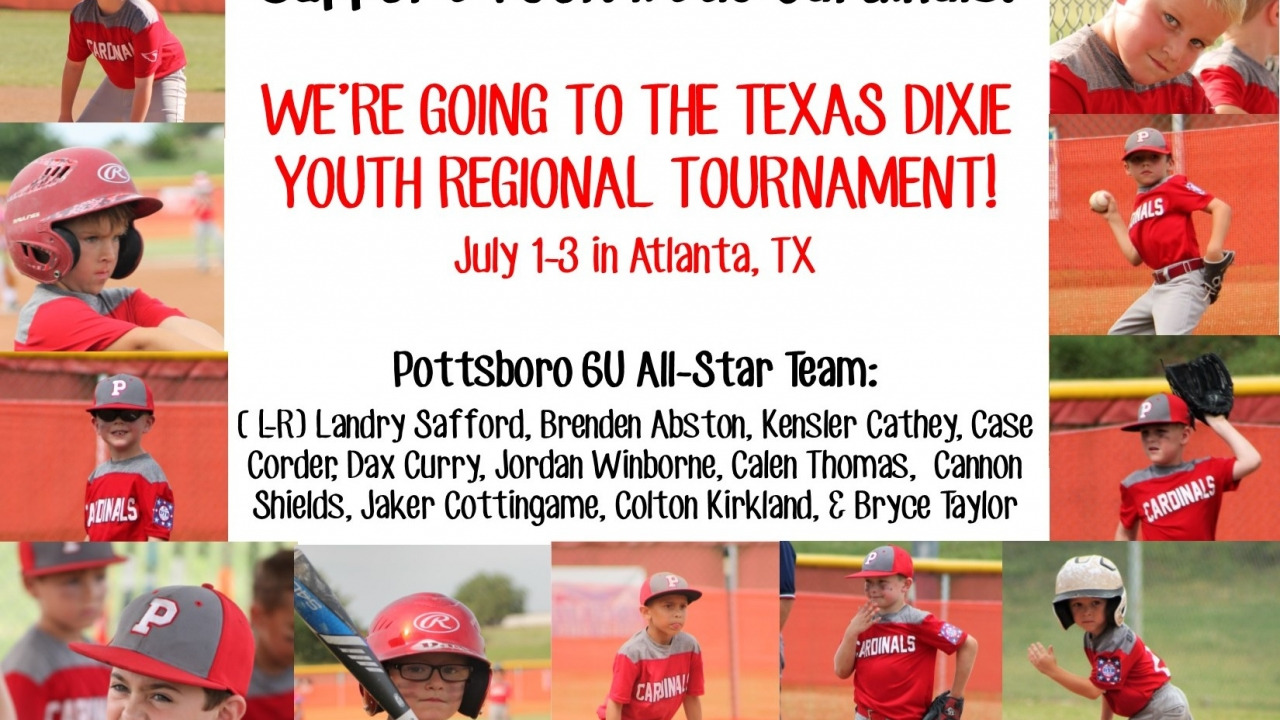 Pottsboro Cardinals 6U All-Stars go to Texas State Regionals!