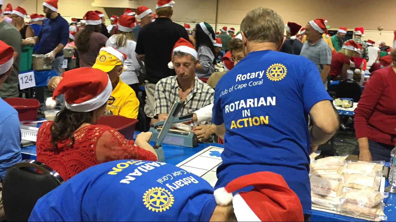 Stafford Rotary Packs Meals of Hope