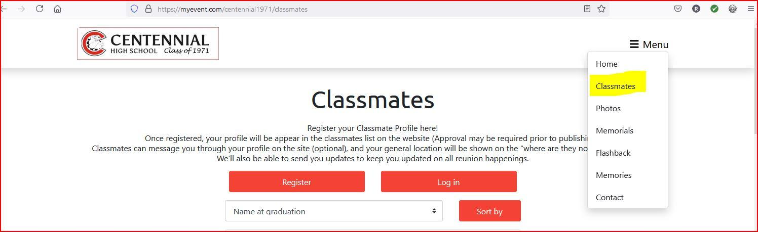 Click on CLASSMATES on the menu to be taken to the page to register.